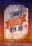 Summer festival open air poster. Retro typographical vector illustration on wood background. Eps 10. Royalty Free Stock Photos