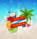 Summer Festival Poster Design with Coconut, Cocktail, Palm Tree Leaves. Slices of Orange and Lime. Banner Hello Summer - Illustration Vector Stock Image