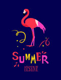 Summer festive card with cartoon letters, confetti and flamingo on dark background. Flat design. Vector poster.  Stock Images