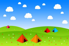 Summer field. Beautiful summer field with tents and flowers stock illustration