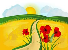 Summer field. Illustration of summer field with grain and poppies Stock Photos