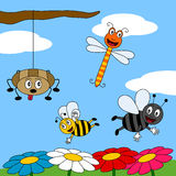 Summer Field with Insects [1]. A funny cartoon scene with four happy insects (a dragonfly, a bluebottle, a bee and a spider) smiling in a field of flowers. Eps Stock Images