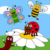 Summer Field with Insects [2]. A funny cartoon scene with four happy insects (a butterfly, a ladybug, a bee and an ant) smiling in a field of flowers. Eps file Stock Photography