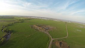 Summer field landscape aerial view. From board the hot air balloon stock footage