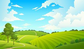 Summer field landscape. Nature hills fields blue sky clouds sun countryside. Cartoon green tree and grass rural land.
