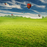 Summer field with lot of air balloons over horizon Royalty Free Stock Photo