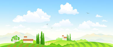 Summer fields banner. Illustration of a beautiful green farm landscape Royalty Free Stock Images