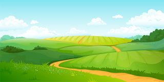 Summer fields landscape. Cartoon countryside valley with green hills blue sky and curly clouds. Vector rural nature view royalty free stock images