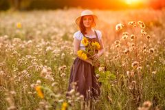 Rustic style. Girl with sunflowers in the field. Summer fields.Rustic style. Girl with sunflowers in the field royalty free stock photography