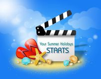 Summer Film flap greeting. Blank film flap on blue background with summer objects illustration and text Royalty Free Stock Photos