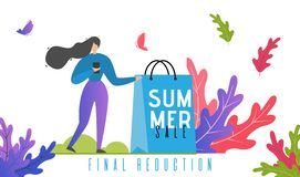 Summer Final Sales and Price Reduction Banner. Summer Sales and Final Reduction Promotion Text. Advertising Banner Template for Online Shop and Mobile Store royalty free illustration