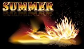 Summer fire flames banner, vector Stock Image