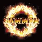 Summer fire flames card, vector Stock Photography
