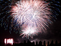 Summer Fireworks. Fireworks to end a village festival with a show by now traditional, Italy Royalty Free Stock Photo