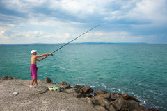 Summer fishing in Pomorie in Bulgaria Stock Photos
