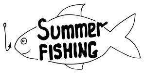 Summer fishing sign with abstract fish and hook. Isolated on the white background Royalty Free Stock Photo
