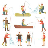 Summer fishing sport vacation vector flat icons. Fishermen with fish set Stock Photo