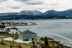 Summer fishing villages from Roadside, Gros Morne National Park, Newfoundland, Canada royalty free stock images
