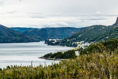 Summer fishing villages from Roadside, Gros Morne National Park, Newfoundland, Canada royalty free stock photography