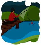 Summer fishing. Youth fisherman sits on a wooden bridge, his legs dangling into the water, and fishing. Bright warm colors. Funny vector illustration