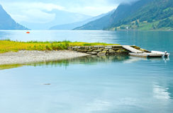 Summer fjord coast landscape (Norway). Stock Photos