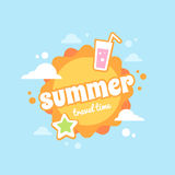 Summer flat card with vacation icons Royalty Free Stock Photography