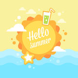 Summer flat card with vacation icons Royalty Free Stock Image