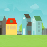 Summer - flat design urban landscape. Illustration Stock Photo