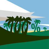 Summer flat geometric landscape. Summer beach with palm trees. Royalty Free Stock Images