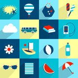 Summer flat icon collection. Royalty Free Stock Photos