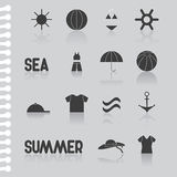 Summer flat icon set-symbol, computer icon. stock  Stock Photo