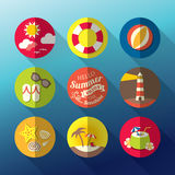 Summer flat icon set Royalty Free Stock Images