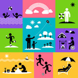 Summer Flat Icon Set Stock Photos