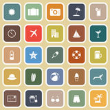 Summer flat icons on brown background Stock Images