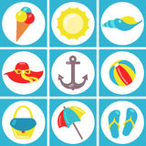 Summer flat icons set. Stock Photo