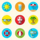 Summer flat icons. Set of 9 summer icons in flat design on circle background Stock Photo