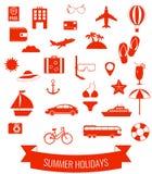Summer flat icons set.  Summer holiday. Vector. Illustration Royalty Free Stock Photography