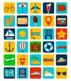 Summer flat icons set.  Summer holiday. Vector. Illustration Royalty Free Stock Photos
