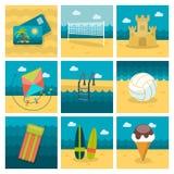 Summer flat icons set Royalty Free Stock Image