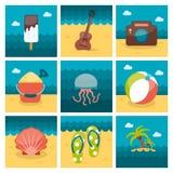 Summer flat icons set Royalty Free Stock Photos