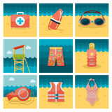 Summer flat icons set Stock Photography