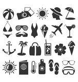 Summer flat icons set  on white Stock Photography