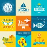 Summer flat label set illustration Stock Image
