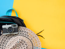 Summer Flat Lay Photo with blue and yellow background. Royalty Free Stock Photo