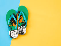 Summer Flat Lay Photo with blue and yellow background. Stock Photo