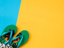 Summer Flat Lay Photo with blue and yellow background. Royalty Free Stock Images