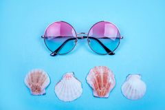 Summer flatlay with sunglasses Stock Photography