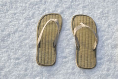 Summer flip flop sandals on the white snow Stock Photos