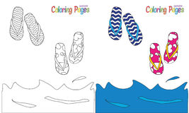Summer flip flops coloring book. Flip flops by the sea coloring book page Stock Photos