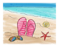 Summer flip flops in the sand on the beach. Watercolor doodle style vector illustration Stock Photo